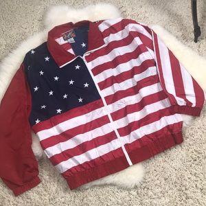 American Flag Windbreaker Jacket Size L